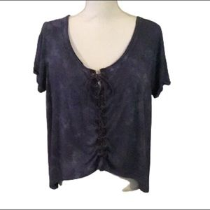 Rue 21 blue high/low tee shirt tie down the front